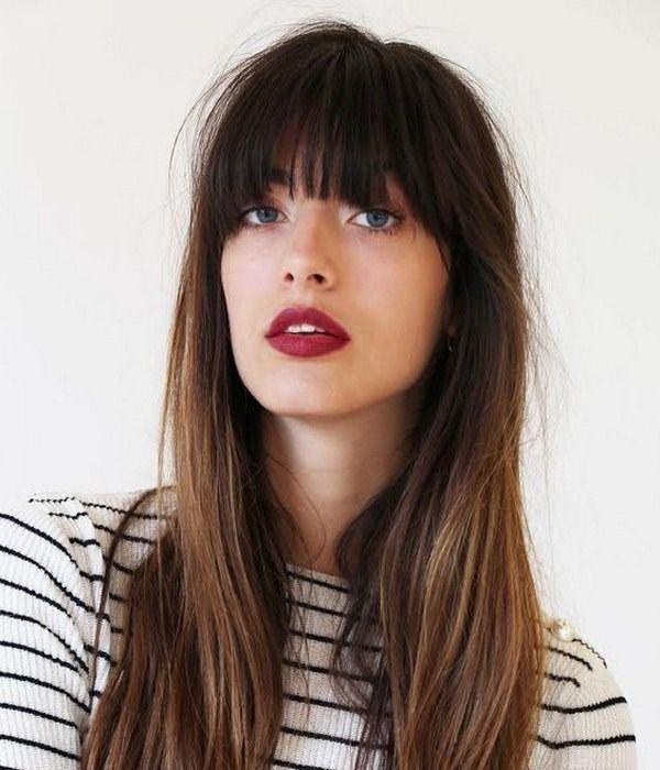 Длинные волосы с прямой челкой и омбре
